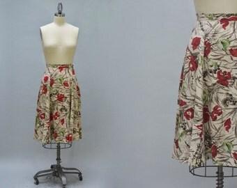 Full Floral Skirt - Vintage 50s Style Nubby Cotton Abstract Print Floral Skirt Knee Length Flared Shape Gored Circle Skirt Flirty Boho Skirt
