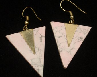 Inverted Triangle Earrings Wires Pierced Ears Pale Pink Blush Howlite