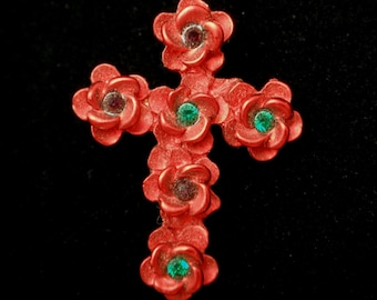 Floral Cross Lapel Pin Pinchback
