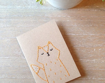Cute Fox Hand Sewn Hand Embroidered Blank Kraft Card
