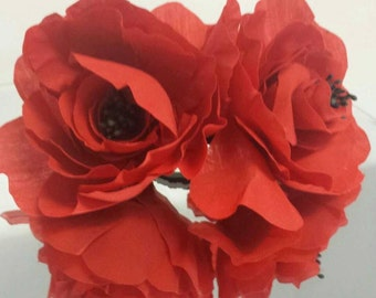 Red Rose Headpiece ( Made to order)