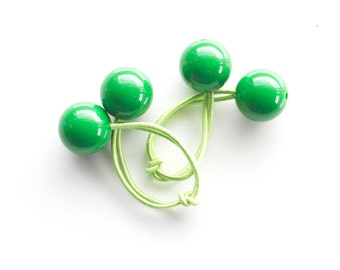 GREEN BOBBLES. Hair ties. Elastic hair ties. Funky. Green. Retro style hair bobbles. Retro Hair Accessories
