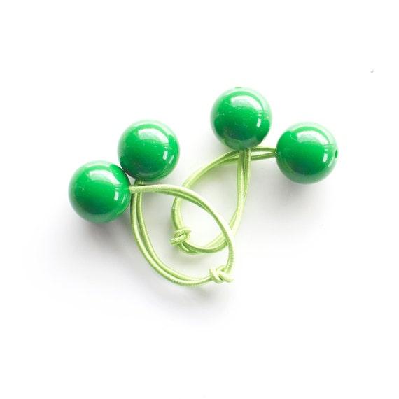GREEN BOBBLES. Hair ties. Elastic hair ties. Funky. Green. Retro style hair bobbles. Retro Hair Accessories