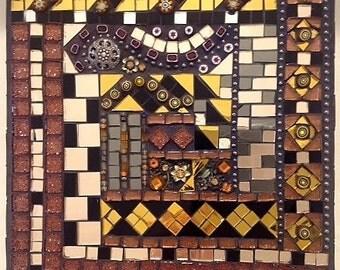 Rusts, Brown, Blush, and Black Mosaic Wall Art