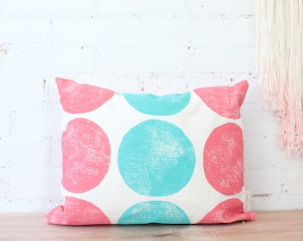 salmon sea green circle block printed hemp pillow cover