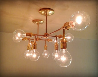 Modern Contemporary Sculptural Lighting - Mid Century Multiple Light Edison Bulb Chandelier Lamp