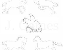Hand Drawn Outlines - Line Art - Silhouettes - Embroidery Patterns - Clip Art - Stencils - Scroll Saw Pattern - Horses in Action
