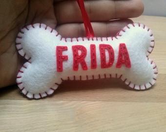 Personalised Dog bone ornament, Felt dog bone Christmas ornament, Red White Dog Bone Ornament, Hand embroidered name