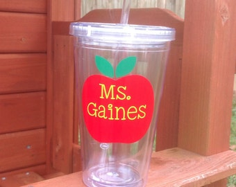 Teacher Tumbler, Apple Tumbler, Personalized Tumbler with Lid and Straw, Teacher Gift