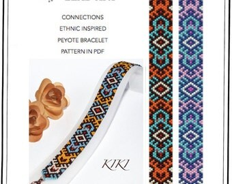 Pattern, peyote bracelet - Connections ethnic inspired - Native American inspired peyote bracelet pattern in PDF - instant download