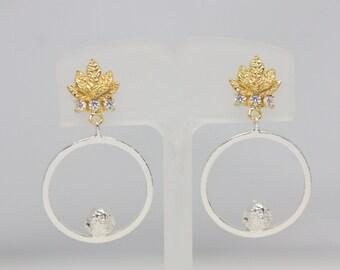 Sterling silver bird earrings, silver earrings, gold earrings, dangle earrings, drop earrings, bird earrings, leaf earrings, jewelry, stud