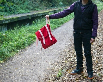 Cotton Canvas Backpack in red with pale pink straps