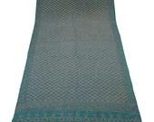FREE SHIPPING Vintage Sari Pure Silk Dress Sarong Wrap Sequence&Kantha Thread WorK Wrap Deco Fabric Recycle Curtain Drape 5YD Sari-ASS662