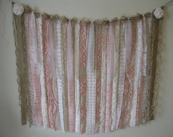 Vintage Chenille Bedspread Fabric Garland-Bunting-Valance-Baby Shower-Nursery Decor-Backdrop-Party-Cottage-Shabby Chic