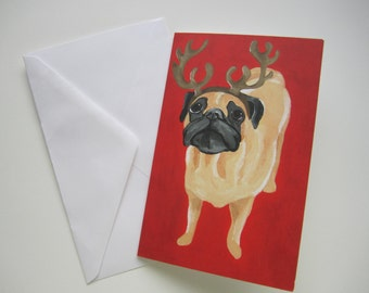 Reindeer Pug Holiday Card, Pug Christmas Card, Fawn Pug Holiday Card