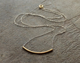 Gold Curved Tube Necklace, Crescent Necklace, Silver Bar Necklace, Curved Bar Necklace, Gold Layering Necklace, Silver and Gold Necklace