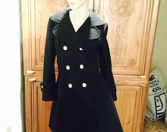 Mod Hipster Black Wool Gogo Midi Cuddle Coat Bohemian Chic