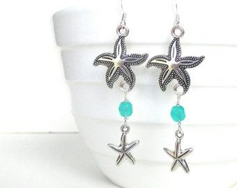 Double starfish earrings - Turquoise Beach earrings - Starfish jewelry - Beach wedding
