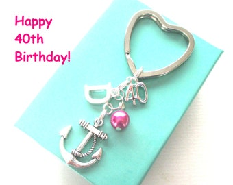 40th birthday gift - Anchor keychain - Personalised 40th keyring - 40th birthday - Anchor keyring with pearl - Initial keyring - UK seller