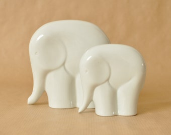 Sgrafo atelier - Set of 2 white porcelain elephants - mid century modern - West Germany - German