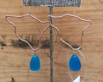 Big island/ocean seaglass earrings