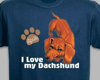 Personalized I Love My Dachshund T-Shirt
