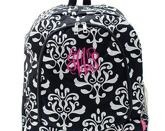 Personalized Damask Backpack Monogrammed Bookbag Black White Floral Girl Large Canvas Kids Tote School Bag Embroidered Monogram Name