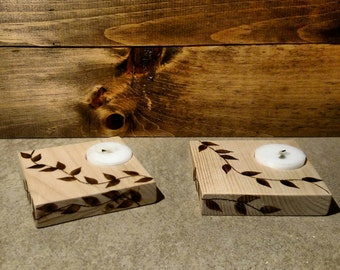Vine Wood Burnt Tea Light Holder