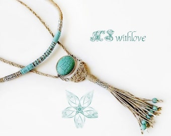 Rope Tassel Necklace, Two Pieces Necklace, Turquoise Pendant Necklace, Bohemian Hemp cord Necklace