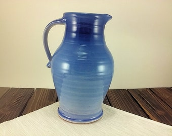 Large blue ceramic pitcher, pottery iced tea, water or lemonade pitcher, beverage jug by Summer Hollow Pottery