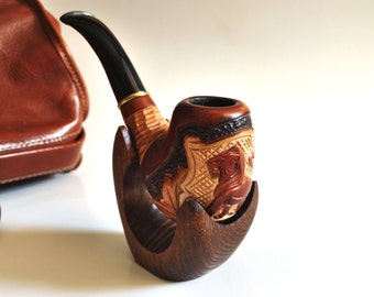 Wood pipe, Tobacco pipe with Lion on the grid, Smoking pipe, Pipe, Smoking bowl, wood tobacco pipe