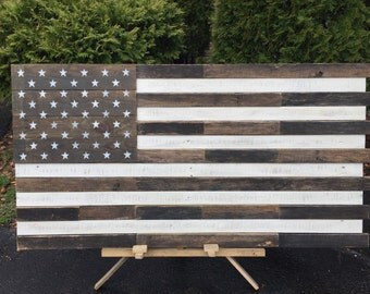 """Reclaimed pallet american flag hanging wall art 42"""" long x 21"""" wide natural and distressed white stripes"""