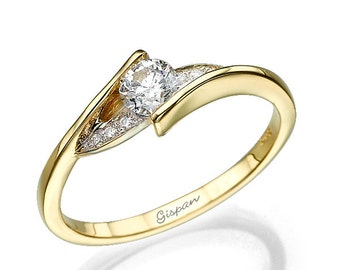 Diamond Engagement Ring, Yellow Gold Ring, Wedding Ring, Antique ring, Promise Ring, Vintage Ring,  Bridal Jewelry, Twist Ring, Curved ring