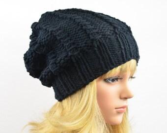 black beanie  knit hat women slouchhat merino wool knitted winter hat  slouchy beanie black handmade gift for her Christmas Birthday 21-22.5