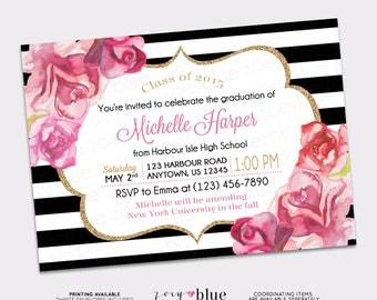 Graduation Invitation Black White Gold Watercolor Roses Blush Pink High School Grad College Graduation Invite Printable Digital File
