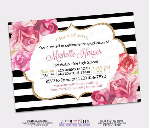 Graduation invitation black white gold watercolor roses blush pink il570xn filmwisefo