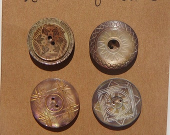 Antique Engraved Incised Dyed Mother of Pearl Very Old Buttons