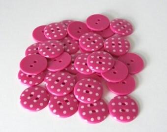 5 x 18mm Cerise Pink Polka Dot Buttons