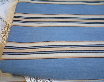French vintage mattress ticking in blue, gold, beige stripes. Blue stripe mattress ticking fabric. Vintage mattress fabric DIY projects.