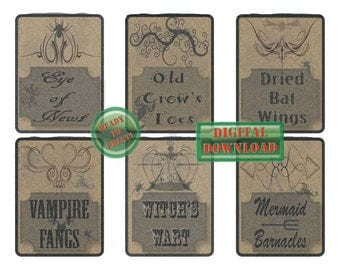 Potion Bottle Labels Printable 6 Halloween Party Cupcake Toppers Gift Tags Eye of Newt Old Crow Toe Dried Bat Wing Vampire Fang Witch Wart