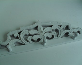 Wood Peg Rack Coat Rack White Shabby Distressed French Country Fleur de Lis