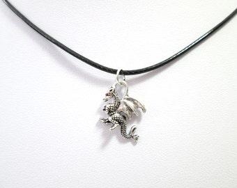 Silver dragon black choker charm pendant, dragon necklace, choker charm necklace, dragon choker, dragon charm,