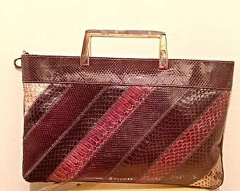 SALE 60s Vintage Snakeskin VARON Patchwork Brass Handle Clutch
