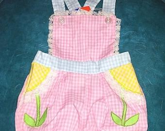 SALE Vintage Baby Girl Gingham Print Pink Blue White Romper