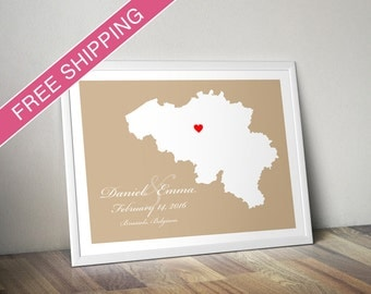 Personalized Belgium Wedding Guest Book Poster - Custom Location and Map Print - Wedding Gift