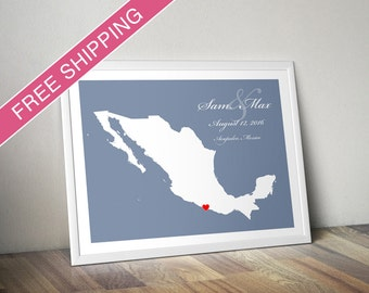 Personalized Mexico Wedding Gift : Custom Location and Map Print - Housewarming Gift - Wedding guest book poster
