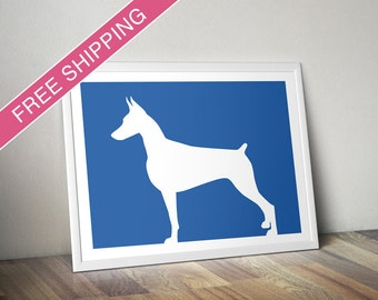 Doberman Pinscher Print - Doberman Pinscher Silhouette - Doberman art, modern dog home decor, dog portrait