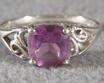 Vintage Silver Square Amethyst Bold Wide Band Ring, Size 9 Jewelry **RL