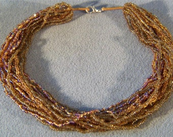 Vintage Rare 19 Strand Luster Aurora Amber Glass Bead Necklace    **RL