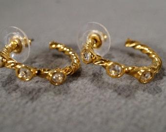 Vintage Art Deco Style yellow Gold Tone Hoop Design Rhinestone Pierced Earrings Jewelry -K#30